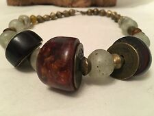 Antique Amber Cherry Dark Amber Tibetan Coin Chunky Necklace Choker Glass Beads