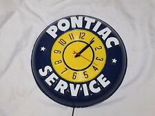 1957 PONTIAC SERVICE Clock Advertising Embossed Plastic