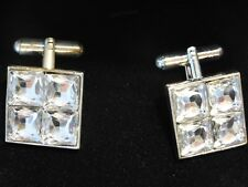 BOUTONS DE MANCHETTE VINTAGE 1970 STRASS NEUF /OLD NEW CUFF LINKS RHINESTONES
