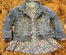 Toddler 2T Girls Carters Jean Jacket With Flower Top Cute Outfit Lot