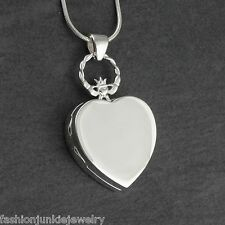 Claddagh Heart Locket Necklace - 925 Sterling Silver - Keepsake Two Photos NEW