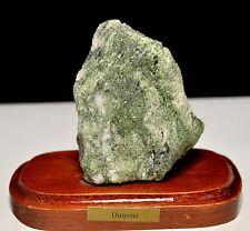 """2.4"""" Green Diopside on Wood Base Natural Crystal Druzy Cluster Specimen - Brazil"""