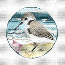"""*NEW* Sandpiper handpainted Needlepoint Canvas Ornament from KAMALA 3"""" Rd."""