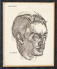 Amazing William H. Littlefield Signed Ink Drawing Early Modernist Portrait 1931
