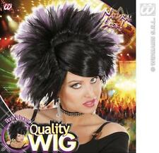 Black Purple Spikey Wig Rock Princess Goth Emo Nu Rave Fancy Dress