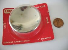 """Vintage NOS 2"""" Round CHROME KNOB Concave Dished Atomic Mid Century Pull Handle"""
