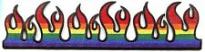 FLAMES STRIP rainbow EMBROIDERED IRON-ON PATCH -c p009 fire gay pride FREE SHIP