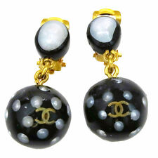 Auth CHANEL CC Earrings Color Stone Gold-tone Clip-On 96P France Vintage 09P940