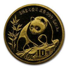 1990 China 1/10 oz Gold Panda Small Date BU (Sealed)