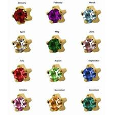 12prs Birthstone 24K Gold Over Surgical Stainless Prong RD3.0mm Stud Earrings