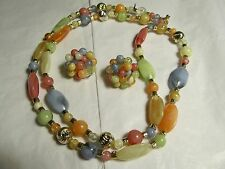 Vintage Fruit Salad Pastel Necklace W/Matching Earrings * Japan