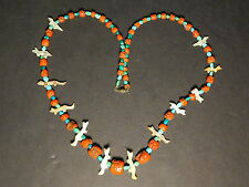 Victorian Genuine Red Coral, Turquoise, & Mother of Pearl Hand Carved Necklace