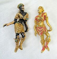 Vtg Unsigned HATTIE CARNEGIE Josephine Baker Blackamoor Lot 2 Pins/Brooches