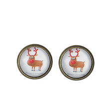 Vintage Bronze Round Charm Christmas Deer Stud Earrings Xmas Gift E674