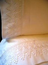 KING VENICE LACE Bed Sheet Set 4pc White 100% Cotton Sateen 400TC by UtaLace NEW