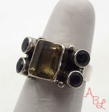 Sterling Silver Vintage 925 Etched Ball Amethyst & Citrine Ring Sz 6 5.9g 537916