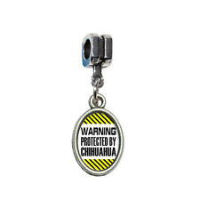 Warning Protected By Chihuahua - Italian European Style Bracelet Oval Charm Bead