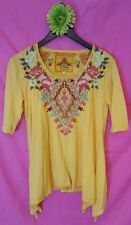 JWLA m medium CECILLA TRAPEZE TEE mango Johnny Was new nwt EMBROIDERY FLORAL