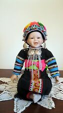 OOAK Porcelain Hmong Hill Tribe Doll with Teeth of Northern Thailand (New)  B