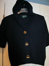 RALPH LAUREN NAVY BLUE SHORT SLEEVE HOODY SWEATER, GOLD TOOGLE BUTTONS, SIZE  M