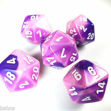 Set of 5 D20 Chessex Dice  RPG D&D - Gemini Pink Purple w/ White  PG2055