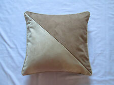 Contemporary Piped Triangle Faux Suede Cushion Cover Cream Beige Camel Brown
