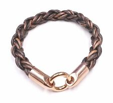 Brown Braided Natural Leather and Stainless Steel Bracelet Magnet Clasp