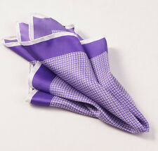 New $215 KITON NAPOLI Purple-White Small Printed Pattern Silk Pocket Square