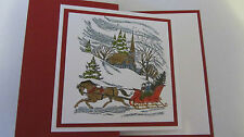 Winter One Horse Open Sleigh Ride Christmas Handmade Card Kit 4 some stampin up