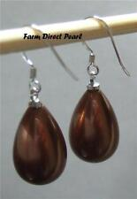 Chocolate Drop Dangle Sea Shell Pearl Earrings 925 Sterling Silver
