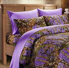 7 PC PURPLE CAMO COMFORTER AND SHEET SET QUEEN CAMOUFLAGE WOODS