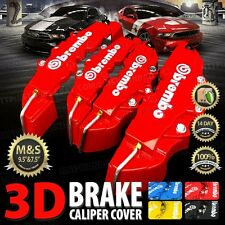 3D Universal Style Brembo Brake Caliper Cover front and rear 4 pcs Red AU03