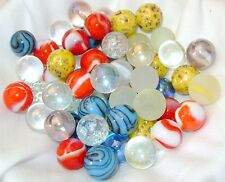 NEW 60 MIXED 14mm GLASS MARBLES TRADITIONAL GAME or COLLECTORS ITEMS HOM