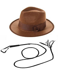 INDIANA JONES EXPLORER SET FEDORA HAT & 6Ft. LEATHER BULL WHIP FANCY DRESS NEW