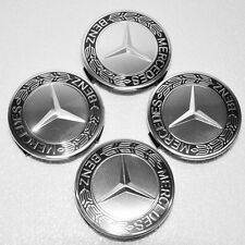4 Black WHEEL HUB CENTER CAP Caps for Mercedes Benz MB A B C E S ML SL GL R 75mm