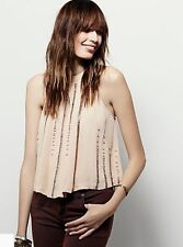 NEW Free People nude blush pink Swing Shimmer & Shine Beaded Halter Top XS $128