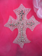N86 Silver Rhinestone Cross Beaded Applique 4.25""