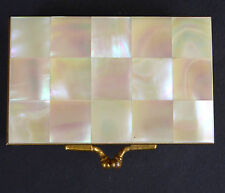 Vtg Vanity Compact Purse Box Possibly Marhill Mother Of Pearl Tile Brass Felt