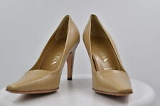 Prada Womens Tan Square Toe Pumps Sz 35.5/5.5 Leather Casual Stiletto Shoes