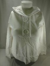 White Relativity Embroidered Chunky Button Hooded Sweatshirt Petite Large PL