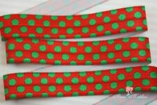 "5 yards 5/8"" Red Green Christmas Polka Dot Fold Over Elastic Ribbon Trim"