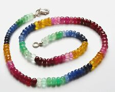 60 ct+ Natural Ruby Emerald Sapphire Gemstone Beads Necklace 925 Silver Clasp.