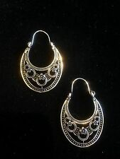 Earrings Big Hoop Silver Hippie Ethnic Boho Belly Dance Tribal Gypsy Bohemian