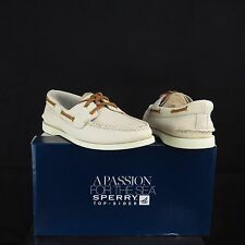 Women's Sperry Top-Sider A/O Ivory White 2-Eye Leather Boat Shoes Size 10 M NEW!