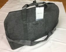 NWT Calvin Klein Gray Canvas Men Duffle Bag Weekender Travel Overnight Handbag
