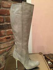 Gianmarco Lorenzi Gray Leather High Heel Boots Women's Sz 38.5 8