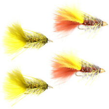 Cone Head Bugger Fly Fishing Flies Assortment - 4 Bass and Big Trout Streamers