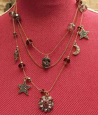 Betsey Johnson Skull Three Row Stargazer Gold NEW $68