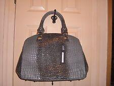 NWT STUNNING SUPER ROOMY roomy croc leather gray black gold bag Jenrigo Italy