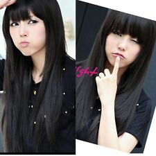 Women's Lady Fashion Long Straight Wig Cosplay Party Costume Hair Full Wig Black
